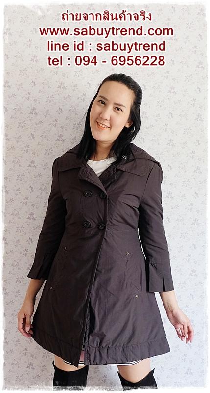 ((ขายแล้วครับ))((คุณแม่เอ๋จองครับ))ca-2691 เสื้อโค้ทกันหนาวผ้าร่มสีดำเทา รอบอก36