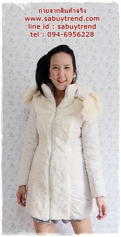 ((ขายแล้วครับ))((จองแล้วครับ))ca-2791 เสื้อโค้ทกันหนาวผ้าร่มสีครีม รอบอก36