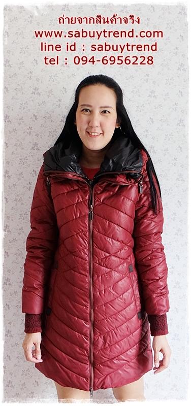 ((ขายแล้วครับ))((จองแล้วครับ))ca-2829 เสื้อโค้ทกันหนาวผ้าร่มสีไวน์แดง รอบอก36