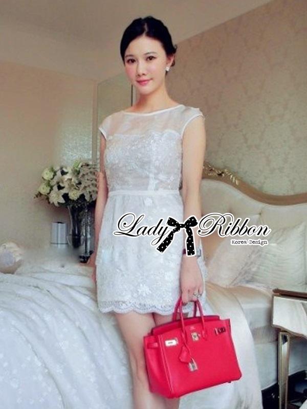 Lady Ribbon Flower Embroidered Chiffon Mini Dress