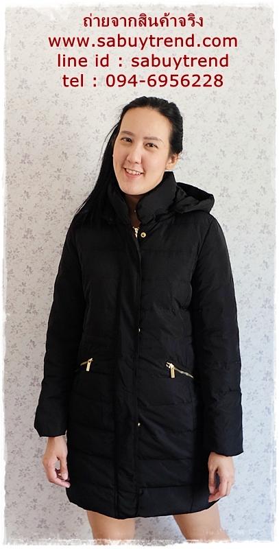 ((ขายแล้วครับ))(จองแล้วครับ))ca-2866 เสื้อโค้ทขนเป็ดสีดำ รอบอก38