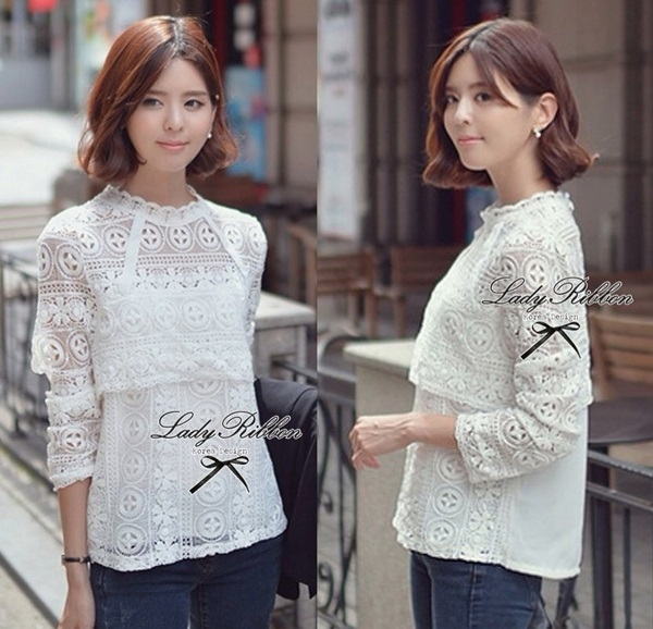 Lady Ribbon Pure White Lace Long-sleeve Blouse