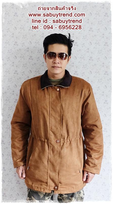 ((ขายแล้วครับ))cm-97 เสื้อแจ๊คเก็ตกันหนาวผ้าชามัวร์สีน้ำตาล รอบอก46