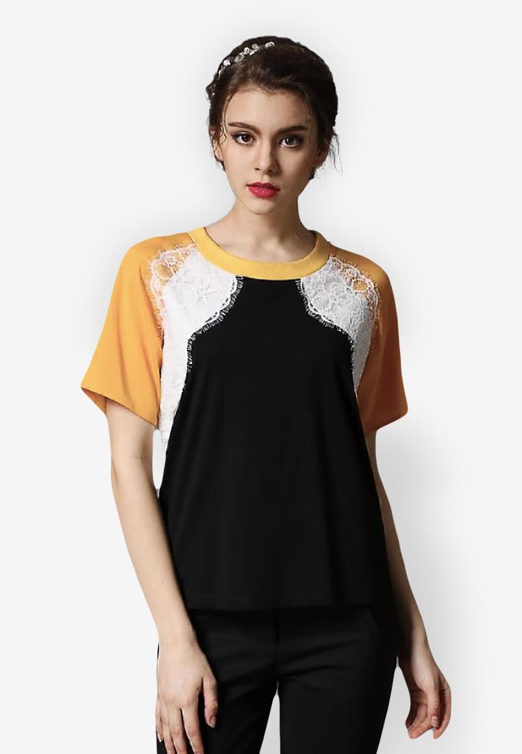 เสื้อยืด Hedging Three-color Lace Splicing