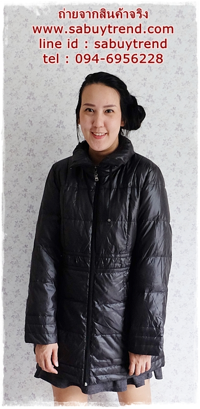 ((ขายแล้วครับ))((คุณจรรพรจองครับ))ca-2890 เสื้อโค้ทขนเป็ดสีดำ รอบอก41