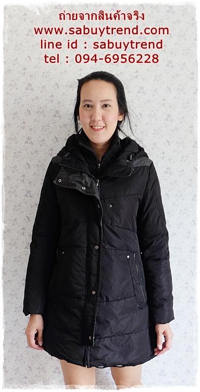 ((ขายแล้วครับ))ca-2849 เสื้อโค้ทขนเป็ดสีดำ รอบอก38