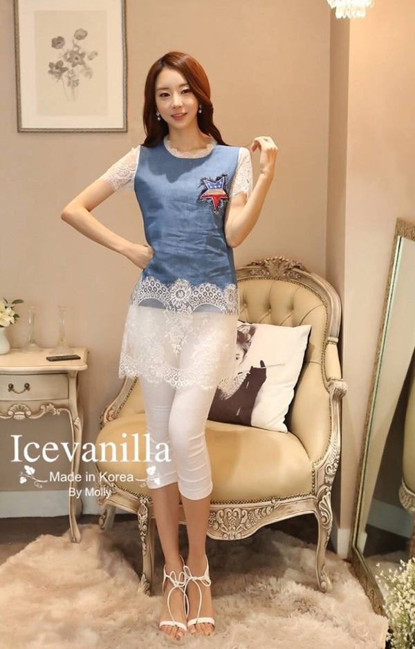 Icevanilla Star Stitching Lace Bottoming Denim Dress