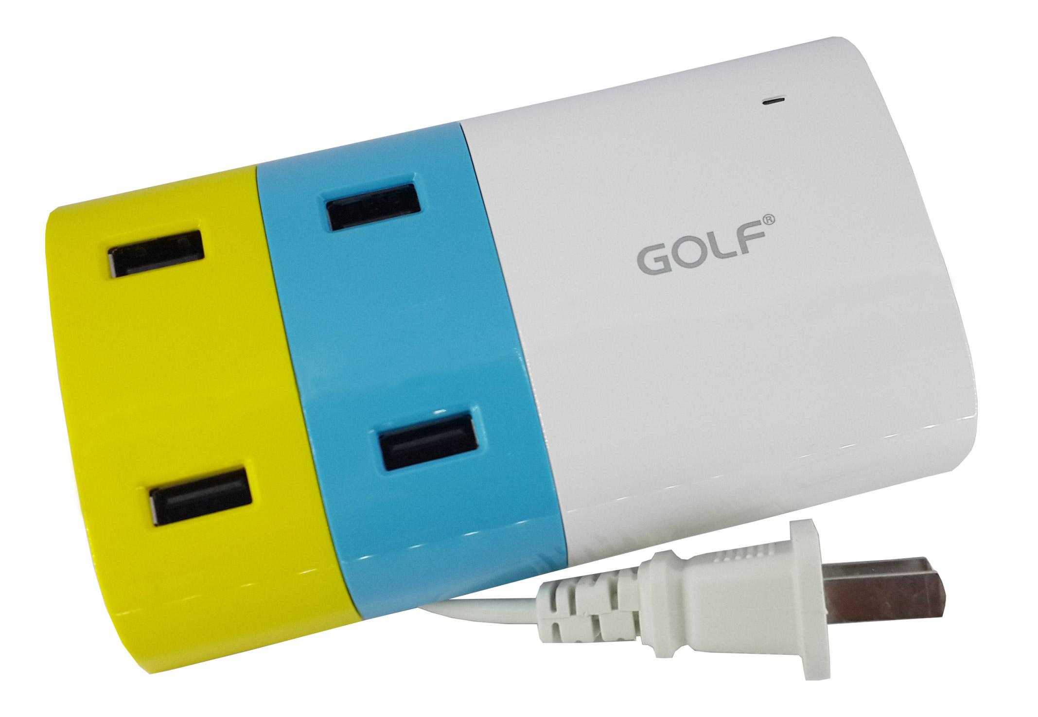 ที่ชาร์จไฟมือถือ USB 4 ช่อง (2.1Ax2 / 1Ax2) กำลังไฟรวม 6.2A ยี่ห้อ GOLF