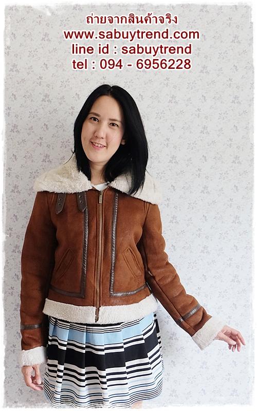 ((ขายแล้วครับ))((คุณสุจารีวรรณจองครับ))ca-2590 เสื้อแจ๊คเก็ตกันหนาวผ้าชามัวร์สีน้ำตาล รอบอก40