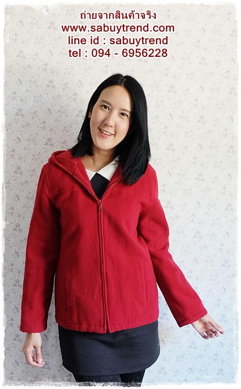 ((ขายแล้วครับ))((จองแล้วครับ))ca-2535 เสื้อโค้ทกันหนาวผ้าวูลสีแดง รอบอก38