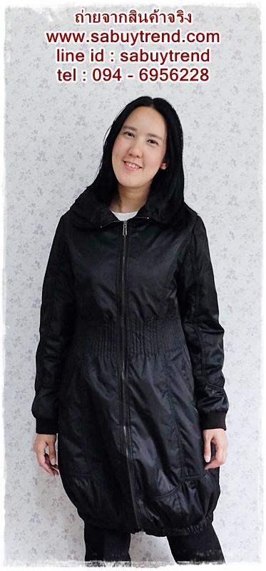 ((ขายแล้วครับ))((คุณCandyจองครับ))ca-2606 เสื้อโค้ทกันหนาวผ้าร่มสีดำ รอบอก36