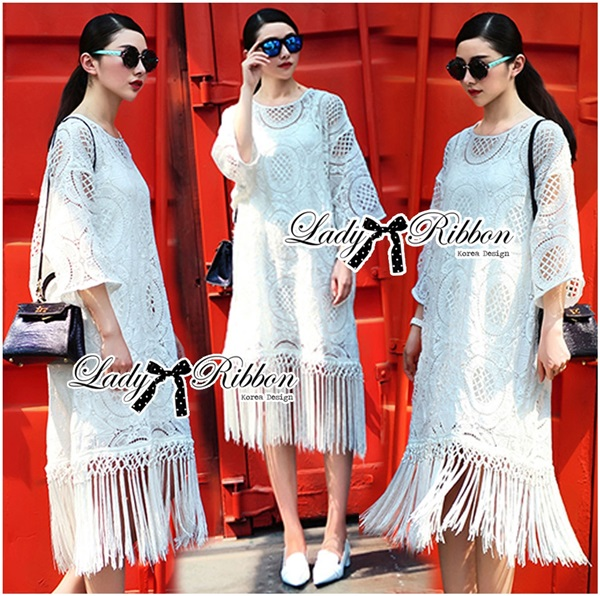 Lady Ribbon Bohemian Fringed Lace Midi Dress