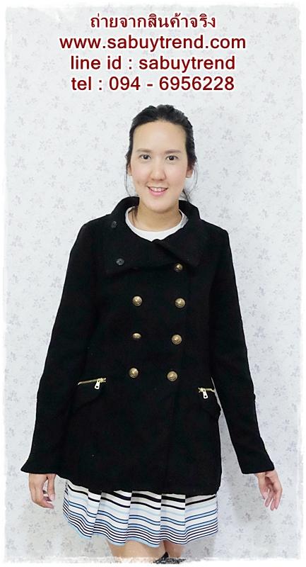 ((ขายแล้วครับ))((คุณWaawจองครับ))ca-2620 เสื้อโค้ทกันหนาวผ้าวูลสีดำ รอบอก34