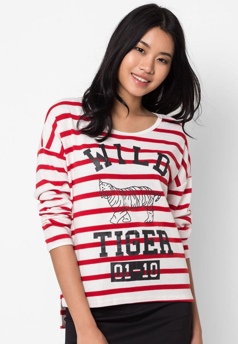 เสื้อยืดแขนยาว Stripe And Tiger