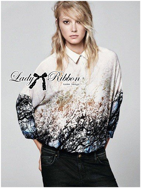 Lady Ribbon Navy Summer Natural Printed Shirt