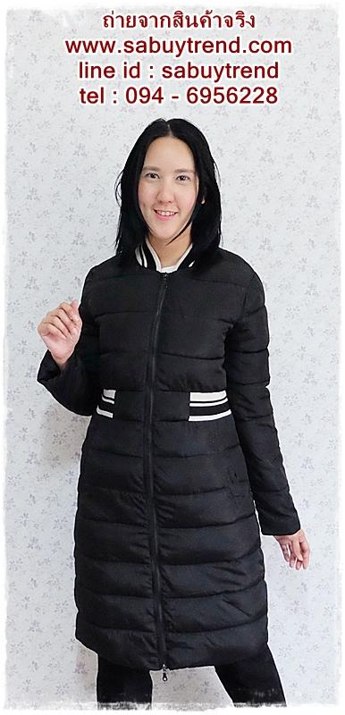 ((ขายแล้วครับ))ca-2612 เสื้อโค้ทกันหนาวผ้าร่มสีดำ รอบอก38