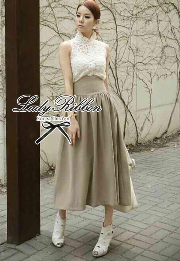 Lady Ribbon Vintage Set เสื้อแขนกุดผ้าแก้วลายลูกไม้กับกระโปรงบาน