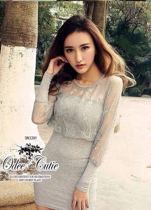 Sexy Style Dress ชุดเซ็ทเสื้อลูกไม้ซีทรู เดรสเกาะอก สีเทา