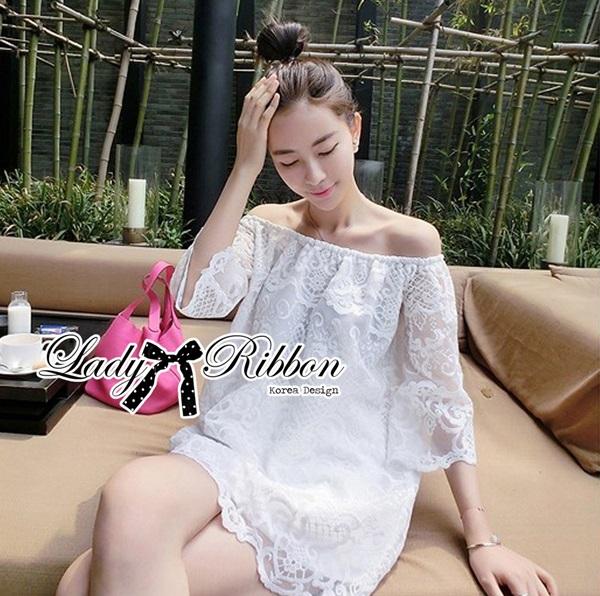 Lady Ribbon Off-Shoulder Lace Dress