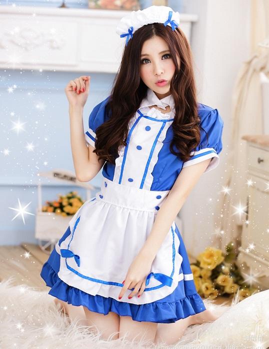 ชุดเมด,ชุดสาวใช้,ชุดแม่บ้านฝรั่งเศสแฟนซีน่ารักแบ๊วๆ สีฟ้าสดใสตัดขาว ผ้ากันเปื้อนขาวแต่งโบ พร้อมคาดผมเข้าชุด