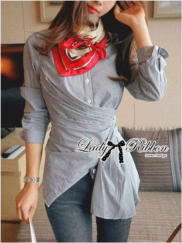 Lady Ribbon Minimal Avant-Guard Detailed Shirt