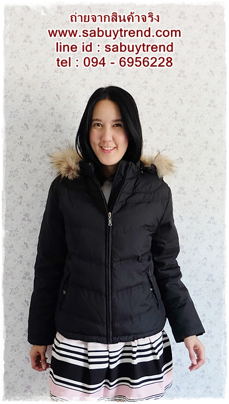 ((ขายแล้วครับ))((จองแล้วครับ))ca-2641 เสื้อโค้ทกันหนาวผ้าร่มขนเป็ดสีดำ รอบอก42