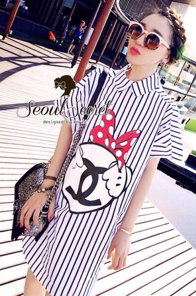 Stripy CC Bow Print Dress Shirt by Seoul Secret