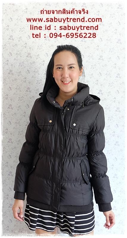 ((ขายแล้วครับ))((คุณMaMeจองแล้วครับ))ca-2749 เสื้อโค้ทขนเป็ดสีดำ รอบอก36