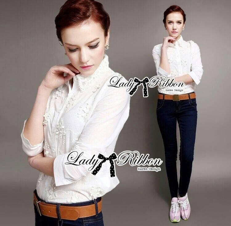 Lady Ribbon Shirt เสื้อเชิ้ตสีขาว แต่งผ้าลูกไม้น่ารัก