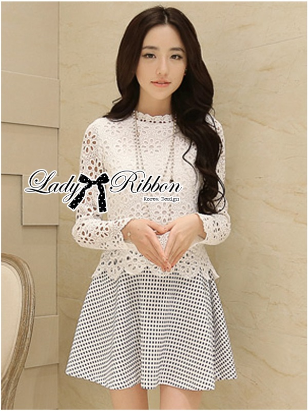 Lady Ribbon Lace Top with Jacquard Skirt Dress