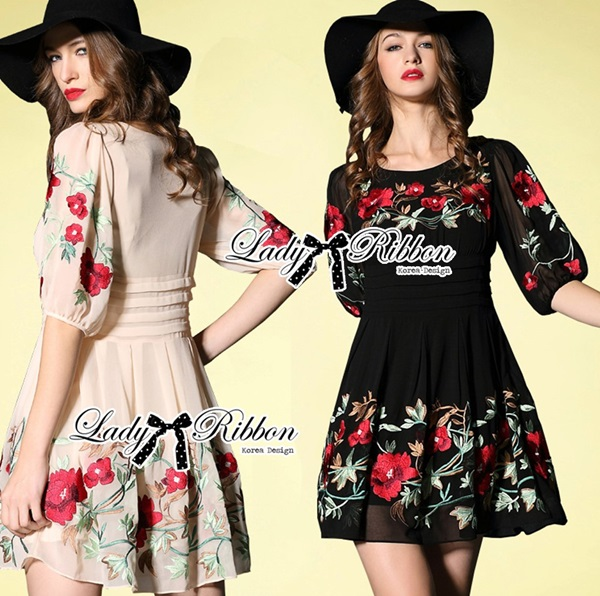 Lady Ribbon Floral Embroidered Draping Chiffon Dress