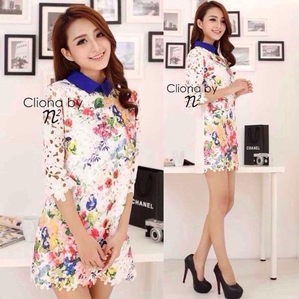 Cliona Lace Print Dress เดรสลูกไม้ ลายดอกไม้ ปกคอเชิ้ต