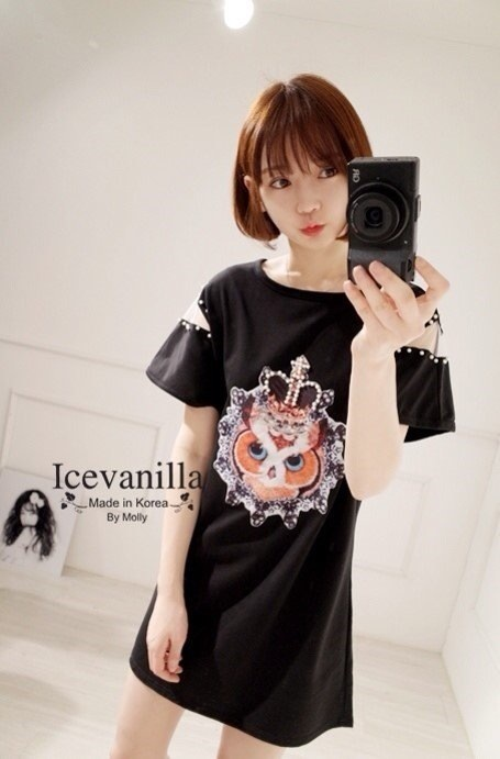 IceVanilla Owl with Pearl Ops Mini Dress