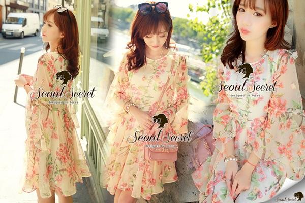 Seoul Secret Chiffon Pink Sakura Dress