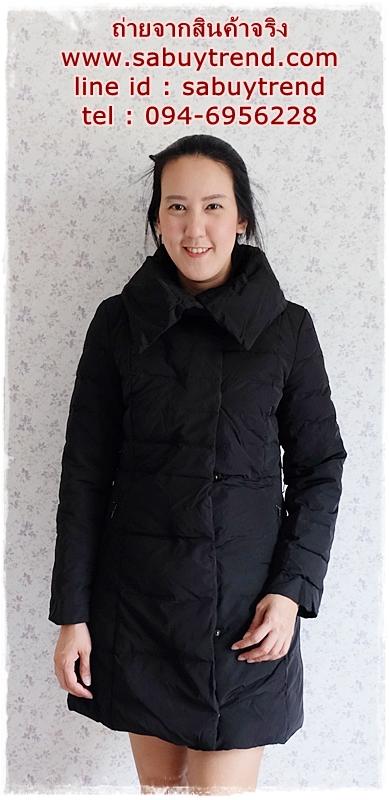 ((ขายแล้วครับ))((คุณสิริภาจองครับ))ca-2858 เสื้อโค้ทขนเป็ดสีดำ รอบอก37