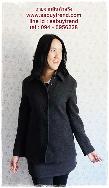 ((ขายแล้วครับ))((คุณfujiจองครับ))ca-2536 เสื้อโค้ทกันหนาวผ้าวูลสีดำ รอบอก36