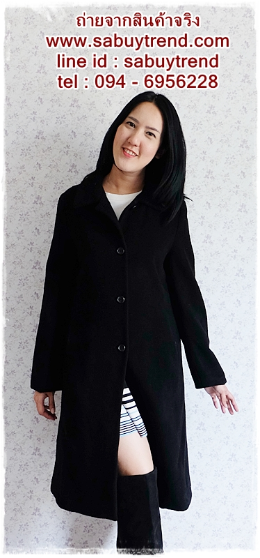 ((ขายแล้วครับ))((คุณสรรสจองครับ))ca-2685 เสื้อโค้ทกันหนาวผ้าวูลสีดำ รอบอก37