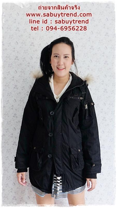((ขายแล้วครับ))((จองแล้วครับ))ca-2786 เสื้อโค้ทกันหนาวสีดำ รอบอก39