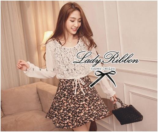 Lady Ribbon เซ็ตชุดเดรสลายดอก พร้อมเสื้อแขนยาวผ้าลูกไม้