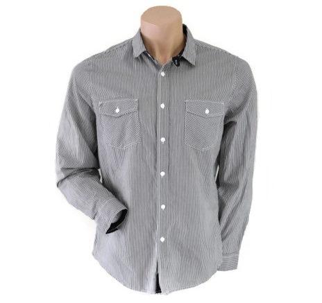 Topman Black/Cream Striped Shirt Size L