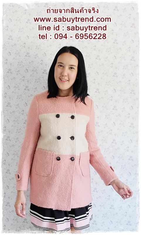 ((ขายแล้วครับ))((คุณพิจิตราจองครับ))ca-2651 เสื้อโค้ทกันหนาวผ้าวูลสีชมพู รอบอก34