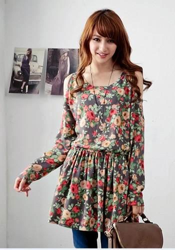 Lovely Floral Dress เดรสผ้ายืด พิมพ์ลายดอกไม้ เปิดเว้าไหล่