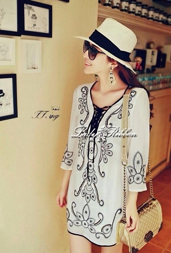 Lady Ribbon Embroidery Chiffon Dress เดรสปักลาย ผ้าชีฟอง