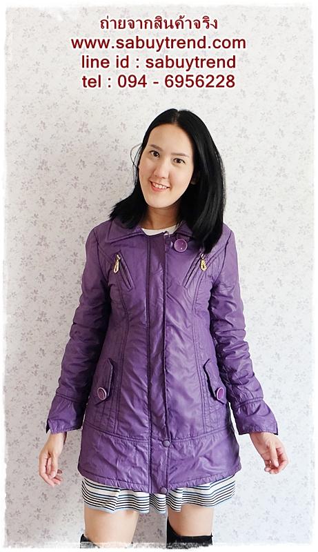 ((ขายแล้วครับ))((จองแล้วครับ))ca-2665 เสื้อโค้ทกันหนาวผ้าร่มสีม่วง รอบอก36