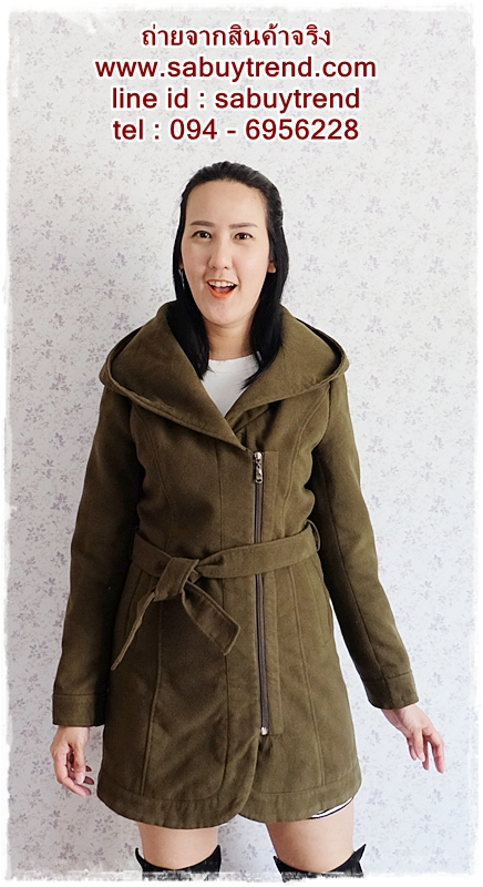 ((ขายแล้วครับ))((คุณMeeจองครับ))ca-2703 เสื้อโค้ทกันหนาวผ้าวูลสีเขียวขี้ม้า รอบอก.36