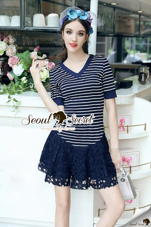 Seoul Secret Chill V Collar Stripe Lace Tail Dress