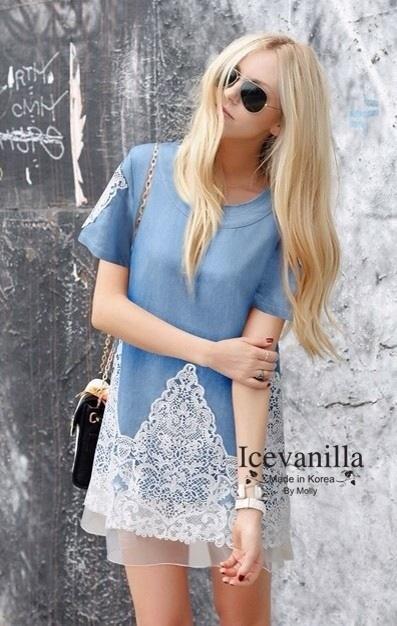 Icevanilla Dress เดรสยีนส์ แต่งชายระบายผ้าแก้วซีทรู