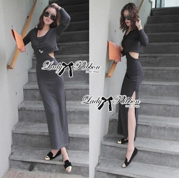 Lady Ribbon Sexy Jersey Cotton Maxi Dress