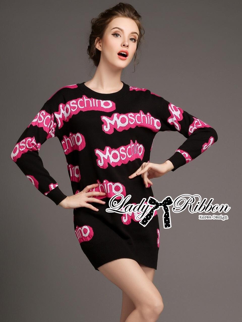 Barbie Girl Sweater Dress เดรสสเวตเตอร์ทอลายสไตล์ Moschino
