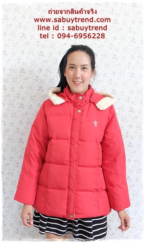 ((ขายแล้วครับ))((คุณPooจองครับ))ca-2753 เสื้อโค้ทขนเป็ดสีแดง รอบอก43
